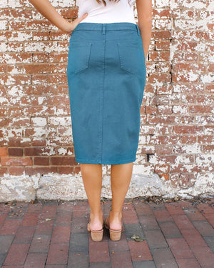 "27"" JDA Emerald Teal Denim Skirt"