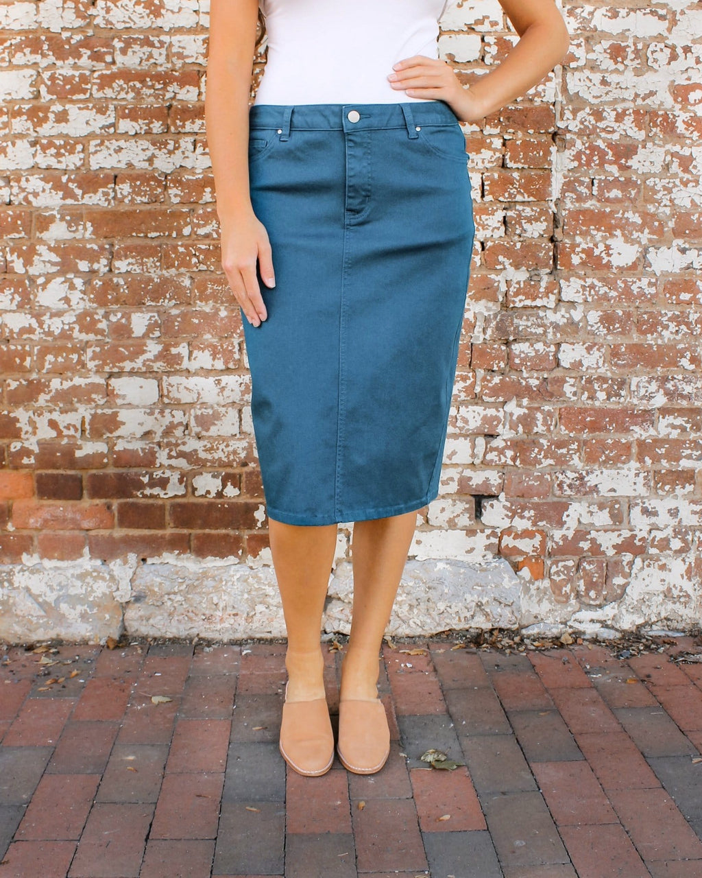 "24"" JDA Emerald Teal Denim Skirt"