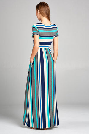 Zeanna Stripe Maxi Dress (Teal)
