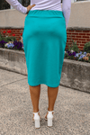 "24"" Turquoise Ultra Comfort Ponte Knit Skirt"
