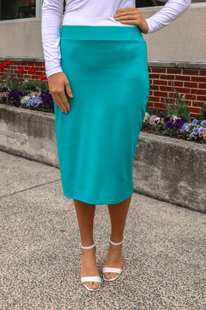"27"" Turquoise Ultra Comfort Ponte Knit Skirt"