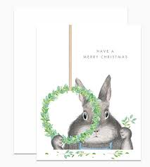 Dear Hancock Christmas Card-Bunny Making Wreath