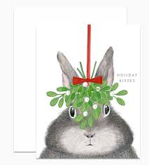 Dear Hancock Holiday Card-Bunny With Mistletoe