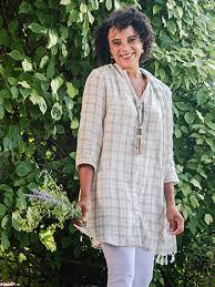April Cornell Vineyard Linen Check Tunic-Biscuit/Ecru