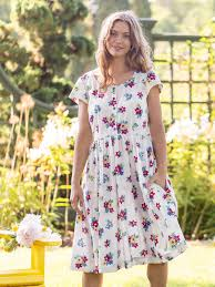 April Cornell Prairie Floral Porch Dress-Ecru