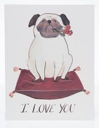 Red Cap Cards Love Card-Pug