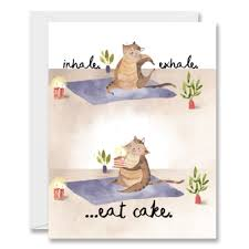 Halfpenny Postage Birthday Card-Yoga Cat