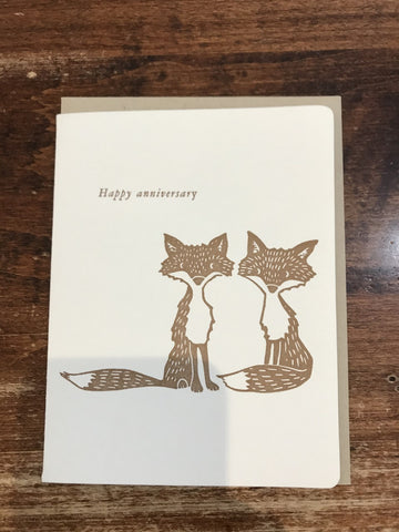 Dogwood Letterpress Anniversary Card-Happy Anniversary Foxes