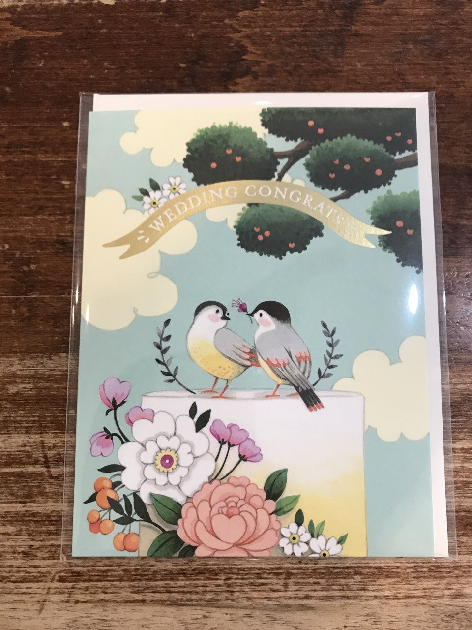 Joojoo Paper Wedding Card-Birds on Cake