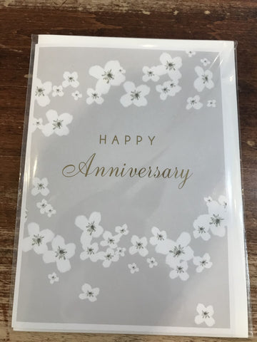 Stephanie Dyment Anniversary Card-White Flowers Anniversary