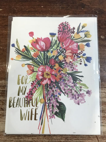 Red Cap Cards Blank Card-Beautiful Wife Foil