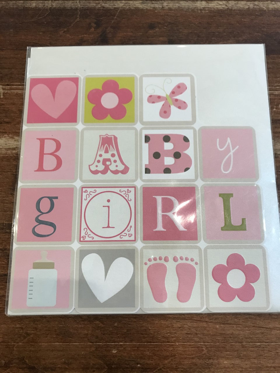 Think of Me Baby Card-Baby Girl Blocks