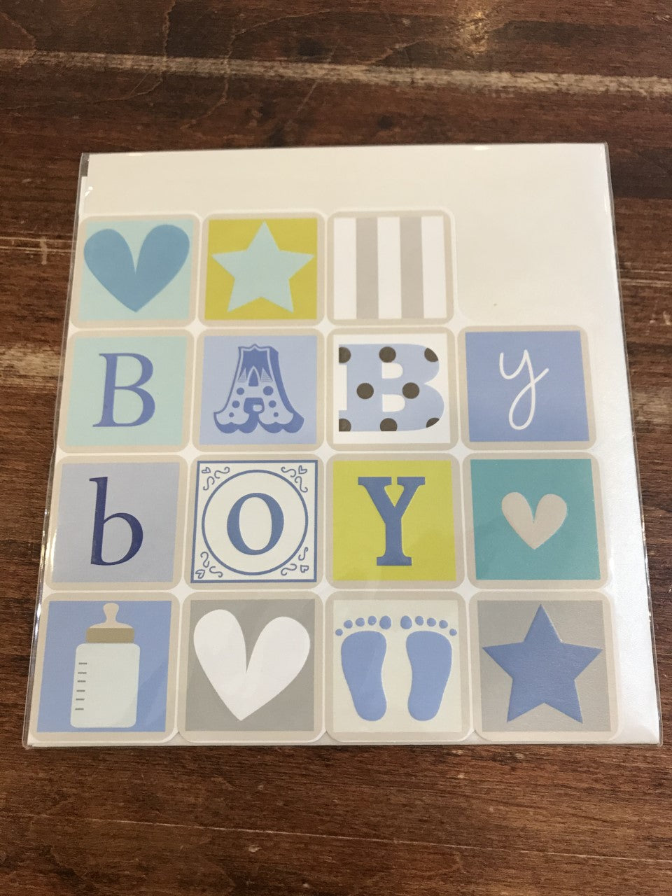 Think of Me Baby Card-Baby Boy Blocks