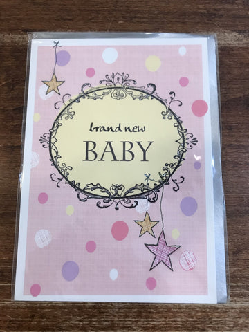 Scarlett Greetings Baby Card-Brand New Baby Pink