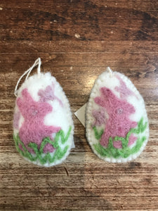 Hamro Village Ornament-Flat Egg-White with Pink Bunny