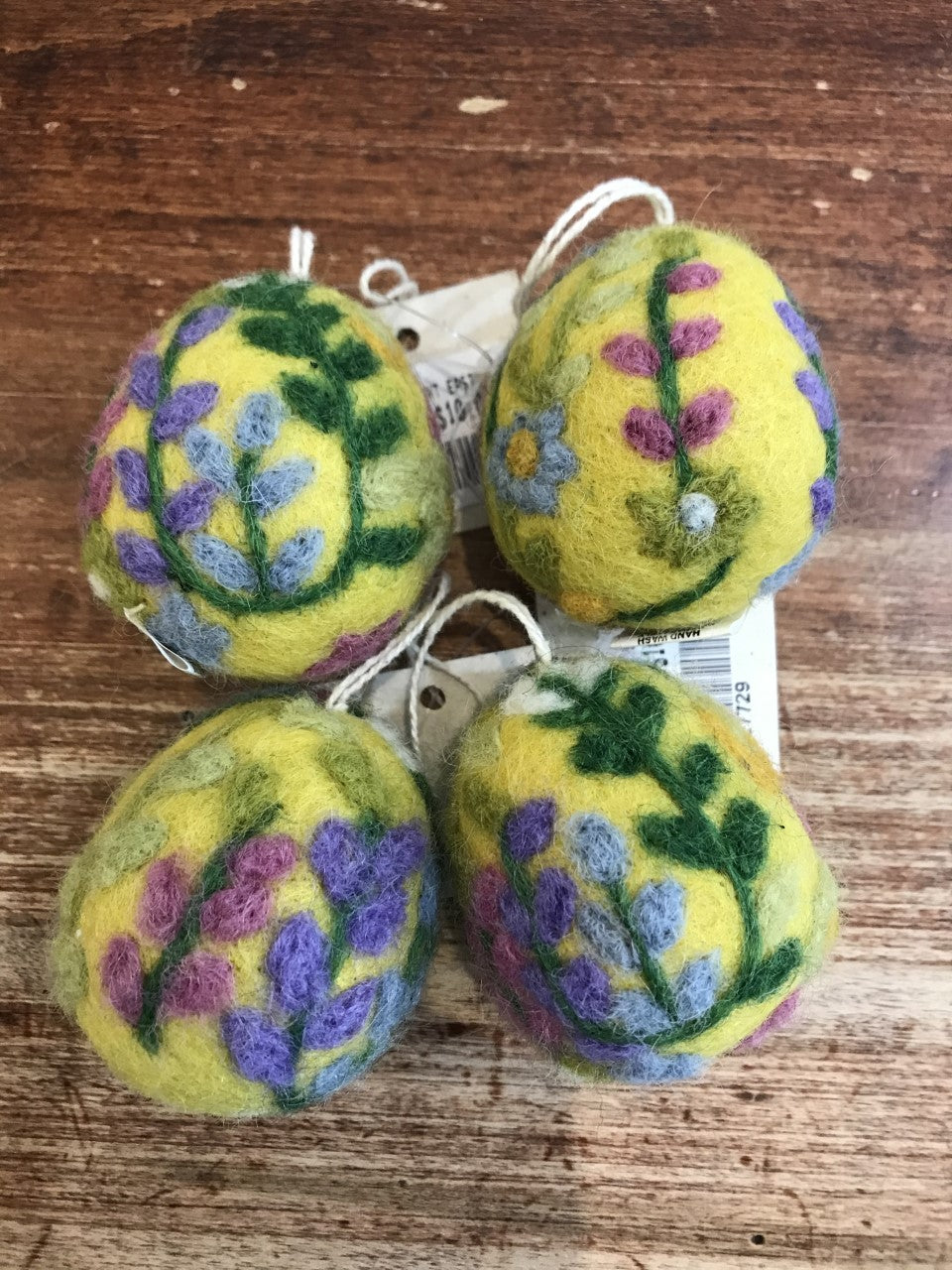 Hamro Village Ornament-Easter Egg-Yellow with Multicoloured Garden