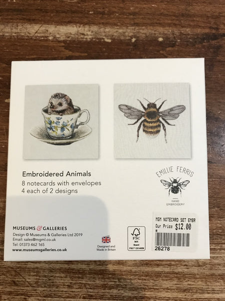 Museums and Galleries Notecard Set-Embroidered Animals