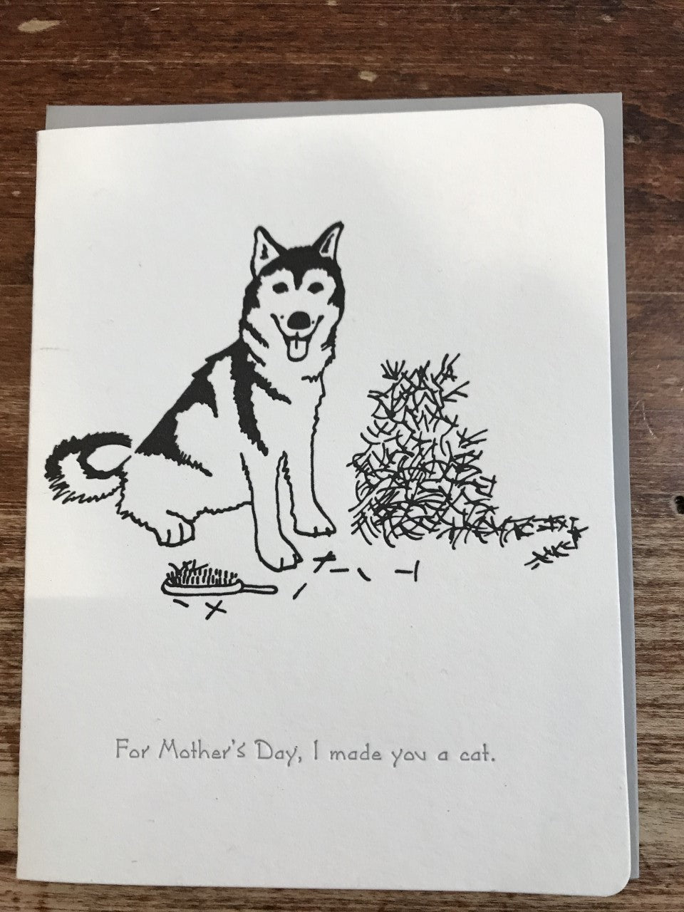 Dogwood Letterpress Mother's Day Card-Mother's Day Husky, Cat