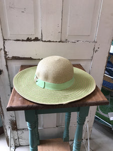 Facinie Hat-Toyo Lamp with Striped Brim-Natural/Lime Green