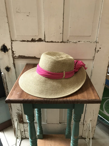 Facinie Hat-Mix Braid Toyo Lamp with Ribbon-Natural/Fuschia