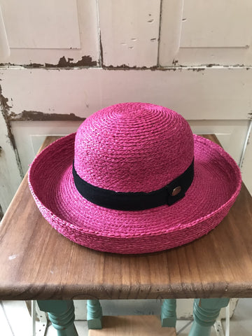 Facinie Hat-Raffia Fine Roller and Cord-Fuchsia