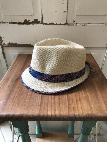 Facinie Hat-Fedora Toyo Weave TT Rib-Natural/Pink
