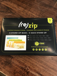 Rezip Food Storage Kit-5 Stand-Up Bags