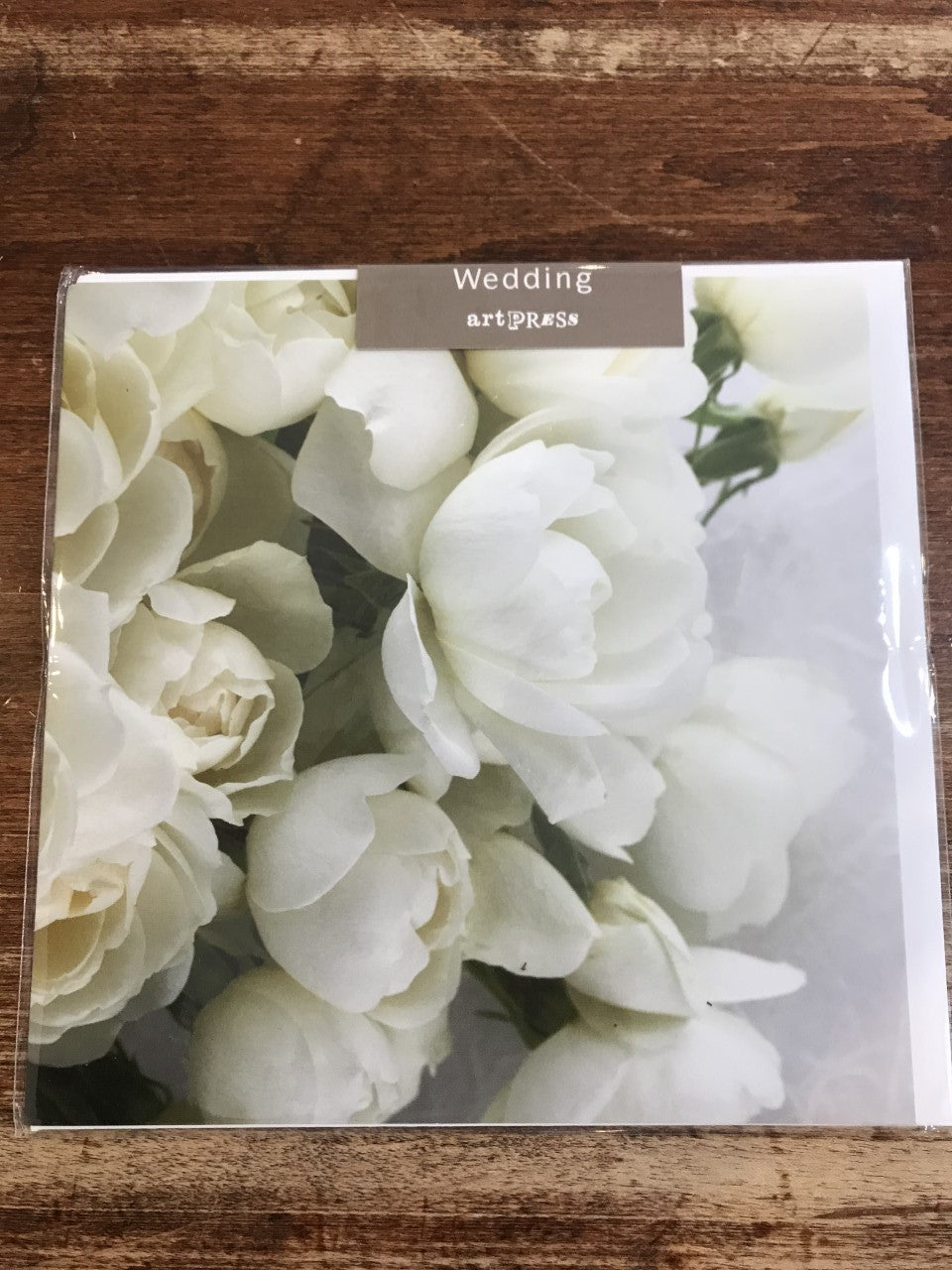 Artpress Wedding Card-White Rose Bouquet