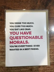 Tiramisu Paperie Friendship Card-Questionable Morals