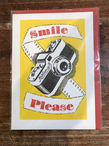Archivist Letterpress Blank Card-Smile Please