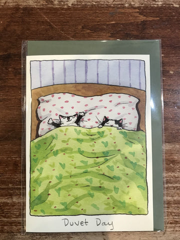 Two Bad Mice Blank Card-Duvet Day