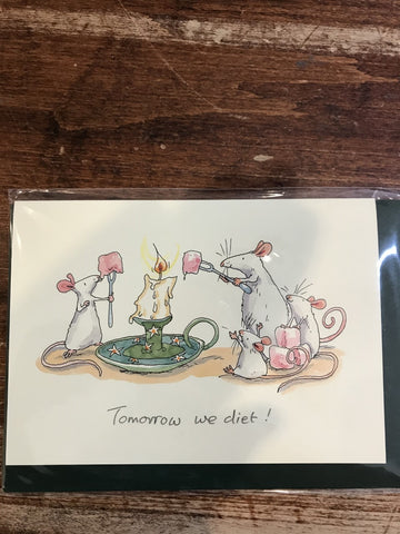 Two Bad Mice Blank Card-Tomorrow We Diet
