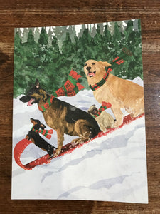 Allport Editions Holiday Card-Dogs Toboggan