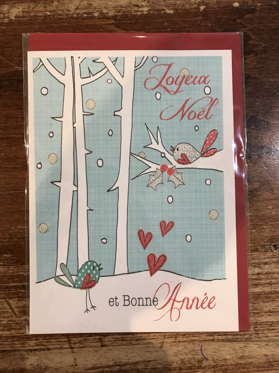 Scarlett Greetings Christmas Card (French)-Birch Trees and Bird