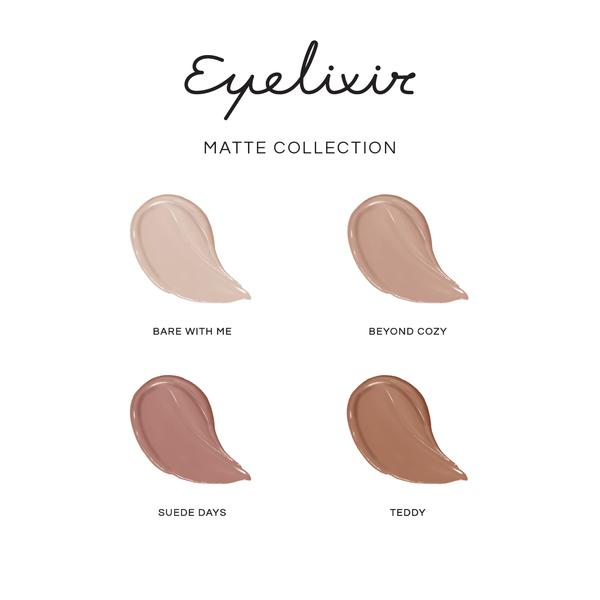 Eyelash extension safe eyeshadows in Matt finish colour swatch chart 1,bear with me 2,Beyond cozy 3,suede days 4,Teddy LBLA COSMETICS AVAILABLE IN AUSTRALIA