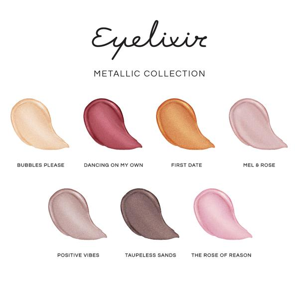 LBLA COSMETICS & CO. EYELIXIR Eye lash extension safe eyeshadow colour swatch chart metallic collection