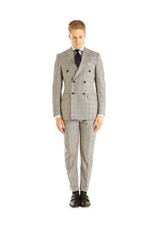 Signature Series Light Grey Check Double-Breasted 2-Piece Suit