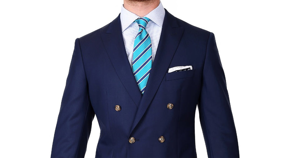 Signature Series Navy Herringbone 2-Piece Double-Breasted Suit