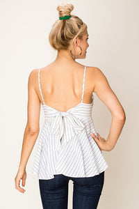 Hallie Black/White Stripe Open Back Tanks