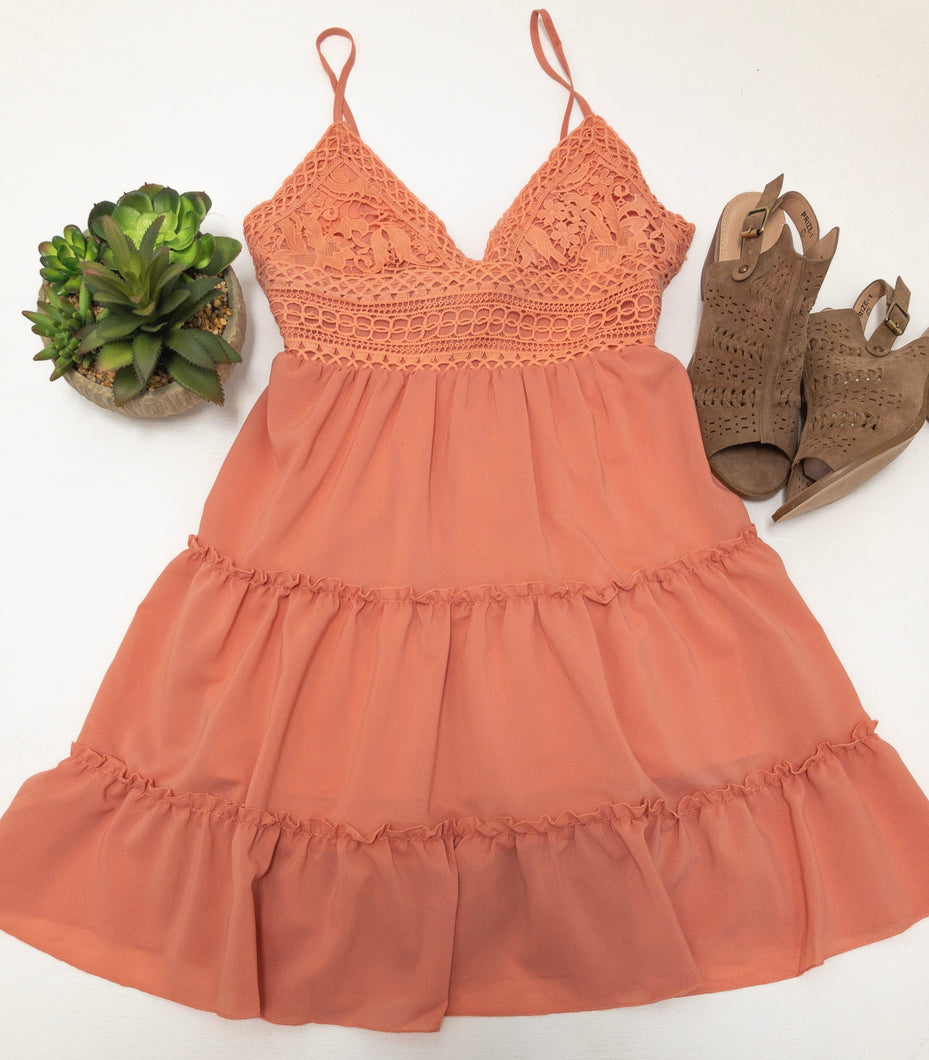 Sweet Peach Crochet Bralette Dress