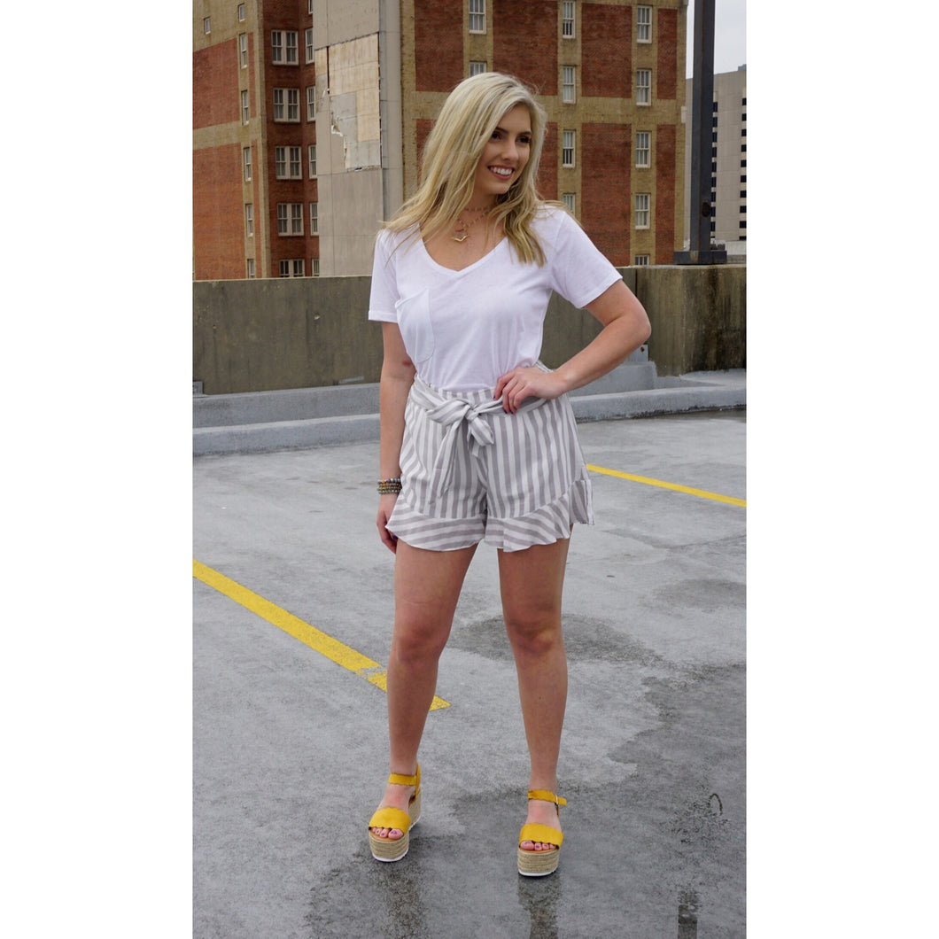 Cassidy Striped Ruffle Mini Shorts