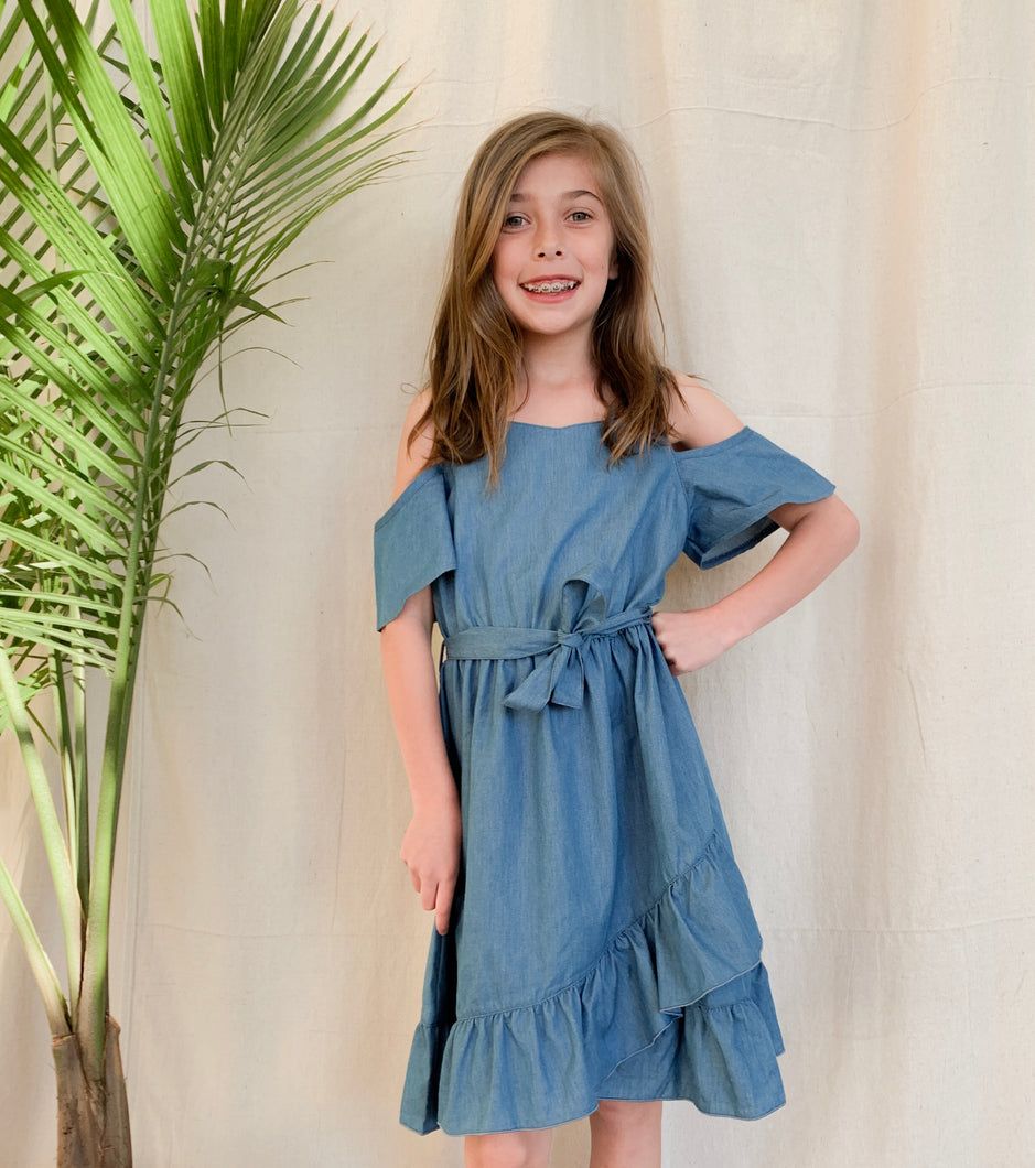 Tween Chambray Wrap Cold Shoulder Dress