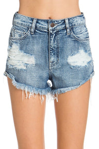Cello Denim High Rise Distress Side Tacked Shorts