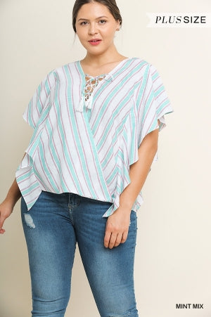 Curvy Mint Striped Short Sleeve Top