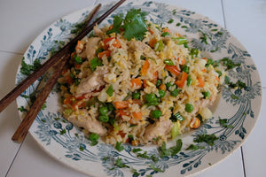 Chicken fried rice. Turn your skillet into a wok with Frywall splatter guard.