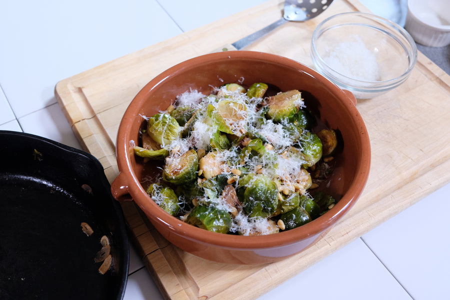 Brussels Sprouts with Pine Nuts, White Wine, and Thyme