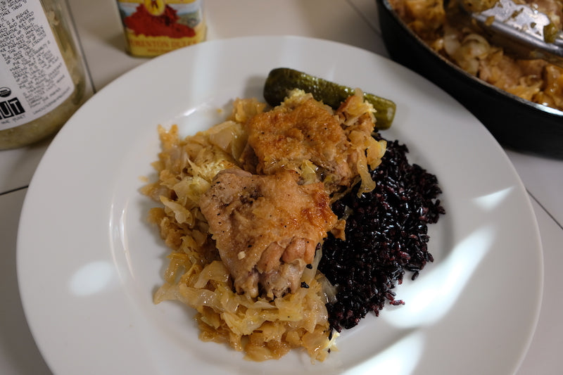 Ima's Chicken with Sauerkraut and Cabbage