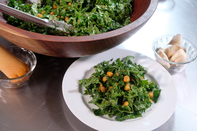 Kale Caesar Salad with Fried Chickpeas