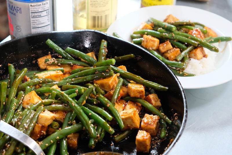Tofu and Green Beans, Garlic, and Sesame