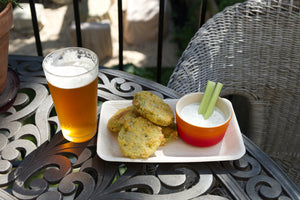 Fried green tomatoes and and a cold beer. Made splatter-free with Frywall splatter guard.